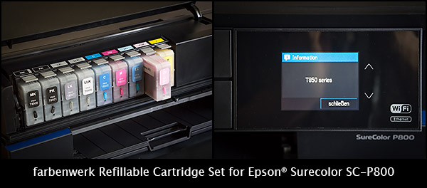 Refillable ink cartridge set for Epson SC-P800 T8501-T8509